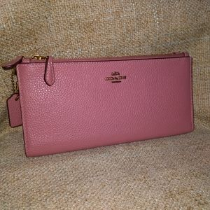 Coach Leather Large  Double Zipper Clutch Wallet